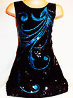 GIRLS 60s BLACK SEQUIN BLUE BURLESQUE FEATHER PATTERN EVENING DANCE PARTY DRESS