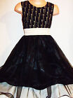 GIRLS BLACK GOTHIC GOLD GLITTER PRINT SATIN TULLE SPECIAL OCCASION PARTY DRESS