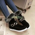 Fashion womens low heels suede ankle bots fur lined boots warm Winter snow boots