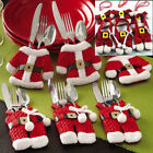 Christmas Santa Tableware Suit Xmas Dinner Table Chair Cover Toilet Wrap Decor