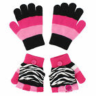 Jumping Beans Girls Size Small Zebra Print Stripe 2 Pack Touchscreen Gloves