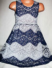 GIRL DARK BLUE & GREY CONTRAST LACE EVENING SPECIAL OCCASION PROM PARTY DRESS