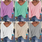 Fashion Womens V Neck Long Sleeve Knitted Pullover Loose Sweater Jumper Knitwear