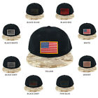 USA American Flag Embroidered Iron on Patch Desert Camo Bill Snapback Cap - DES