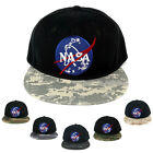 NASA Insignia Space Embroidered Iron on Patch Camo Flat Bill Snapback Cap