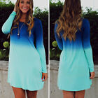 Women's Blue Gradient Colors Bodycon Loose Dress T-Shirt Long dress