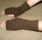 New Alpaca Wrist Arm Warmers From Peru with Braided design Color Brown