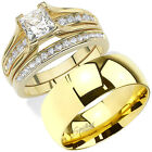 HIS HERS 3 PC GOLD PLATED TITANIUM & Stainless Steel Wedding Ring Bridal Set