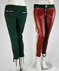 Pantaloni Donna Stile Sport MET Ecopelle/Cotone Made in Italy C289 Tg M L