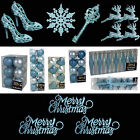 Ice Blue Glitter/Plain Christmas Tree Decorations Baubles Stars Cones & More
