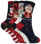 Ladies Womens Cute Fun Colorful Cotton Rich Novelty Xmas Christmas Crew Socks