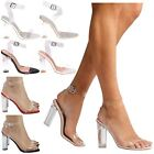 Kyпить Reagan Womens High Clear Heels Ankle Strappy Open Toe Ladies Sandals Shoes Size на еВаy.соm