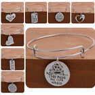 Love Heart Pendant Silver Charm Bracelet Family Jewelry Mom Dad Bangle Paws Pet