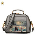 Women Fashion  PU Leather Messenger Bag Handbag Oil Paint Shoulder Bag