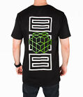 Black Tall Tee 3D Cube Retro Gamer T Shirt Longline Streetwear 100% Cotton