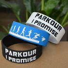 """Parkour I Promised Silicone Wristband Bracelets for Sport Adult Size 1"""" Wide"""