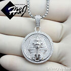 """925 STERLING SILVER ICED EGYPTIAN PHARAOH PENDANT+18-32""""X2MM BOX LINK CHAIN*SP62"""