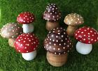 Toadstools Fairy Toadstool Wooden Toadstool Ornament Red & White Brown Polkadot