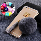 Lovely Warm Rabbit Fur Ball Metal Ring Soft Shockproof Clear Phone Case Cover