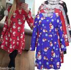 Women Christmas Snowman Long Sleeve Mini Dress Party Festival New Year Xmas Tops