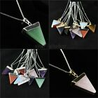 Amethyst Crystal Agate Onyx Triangle Reiki Chakra Silver Gold Pendant Necklace