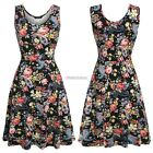 ACEVOG Womens Casual Fit and Flare Floral Sleeveless Evening Cocktail Dress N98B