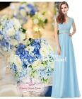ATHENA Baby Blue Beaded Grecian Boho Evening Cruise Bridesmaid Dress UK 8 - 20