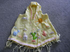 New Made In Peru Arpillera Poncho with Hood Size 12 - 16 Months Yellow #010442