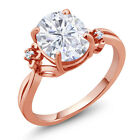 2.75 Ct Created Moissanite Created Sapphire 18K Rose Gold Plated Silver Ring