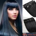 Clip In 100% Real Human Hair Extensions Full Head Set Jet Black #1 Any Lengths