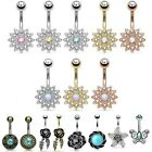 Flower Belly Bar - Crystal Navel Ring - Simulated Opal