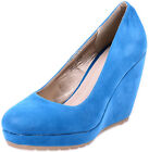 Edle Sea Blue Fifties Pin Up Keilabsatz WEDGES Schuhe Blau Rockabilly