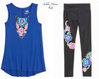 NWT JUSTICE Girls 12 16  Blue Fringe Tank Top & Matching Leggings Outfit