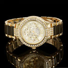 Round Crystal Dial Stainless Steel Band Analog Quartz Women's Wrist Watch