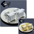 MEN 925 STERLING SILVER 7MM ICED OUT SILVER/GOLD 3D STUD SCREW BACK EARRING*E128