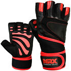 Leather Weight Lifting Training Gloves Gym Fitness Long Wrist Strap Black, Red