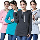 UK Breastfeeding Clothes Maternity Tops With Hoodie Nursing Tops Plus Size M-2XL