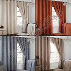 PAIR OF WAFFLE CHENILLE EFFECT LINED RING TOP EYELET CURTAINS GREY TAUPE NATURAL