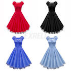 LADIES HEPBURN VINTAGE RETRO HOUSEWIFE ROCKABILLY WOMEN BODYCON MESH SWING DRESS