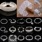 Bangle Chain Bracelet New Women Jewelry 925 Sterling Silver Crystal Cuff Charm