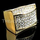 Mens 14K Yellow Gold Fn Lab Diamond Engagement Ring Band Stainless Steel Pinky 3