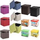 Linen Fabric/Leather Ottoman Cube Footrest Storage Stool Box Pouffe Seat NM N4P9