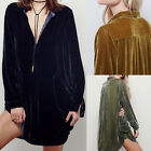 Women's Velvet Long Sleeve Micro Mini Shirt Dress Loose Top Cozy Blouse Tunics