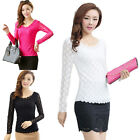 Women Lady Slim Lace Floral Long Sleeve T Shirt Blouse Top TRjc SEAU