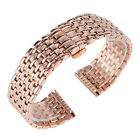 Stainless Steel Bracelat 18/20/22mm Rose Gold Solid Link Watch Band Strap Unisex