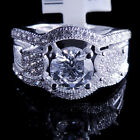 Ladies 14K White Gold Fn Lab Diamond Solitaire Engagement Ring Band Round Halo