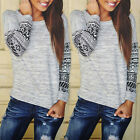 2016 Womens Long Sleeve Shirt Casual Lace Loose Cotton Tops T-Shirt Blouse NEW