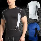Mens Gym Compression Workout Sports Cycling Workout Stretch Athletic T-Shirt Top