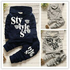 2pcs Kids Baby Boys Letter Hooded Tops+Pants Cotton Outwear Outfits Clothes New