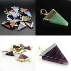 Amethyst Crystal Agate Opal Triangle Pointed Reiki Chakra Silver Gold Pendant